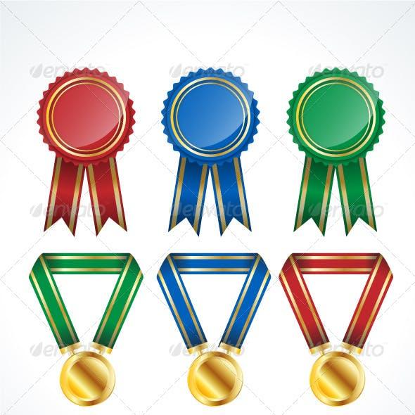 Vector Award Ribbons & Medals