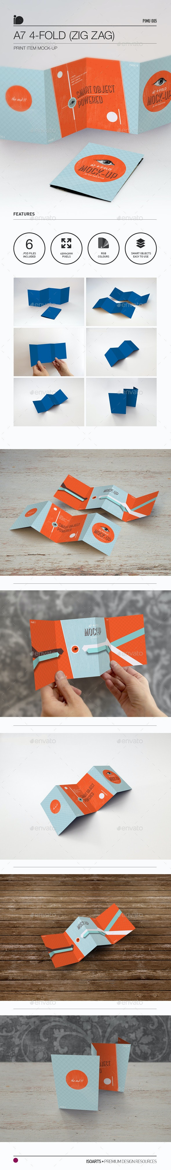 Mock-Up • A7 4-Fold (Zig Zag) Brochure - Brochures Print