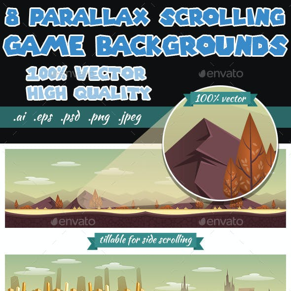 8 Game Backgrounds - Parallex Side Scrolling