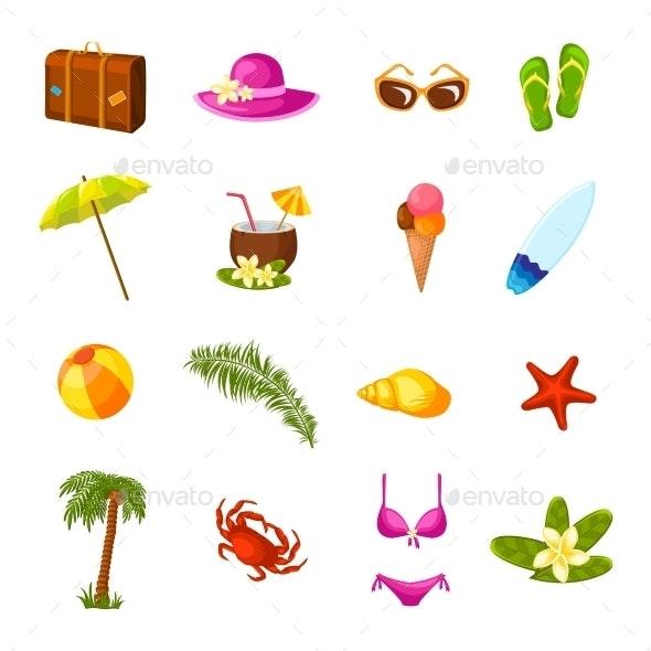 Beach Icons - Travel Conceptual