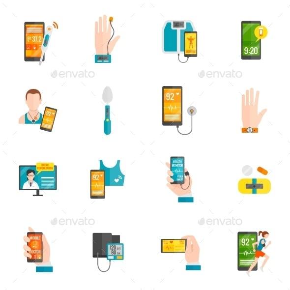 Digital Health Flat Icons