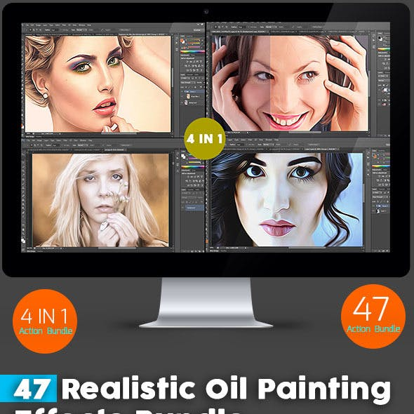 47 Realistic Oil Painting  Effects Bundle
