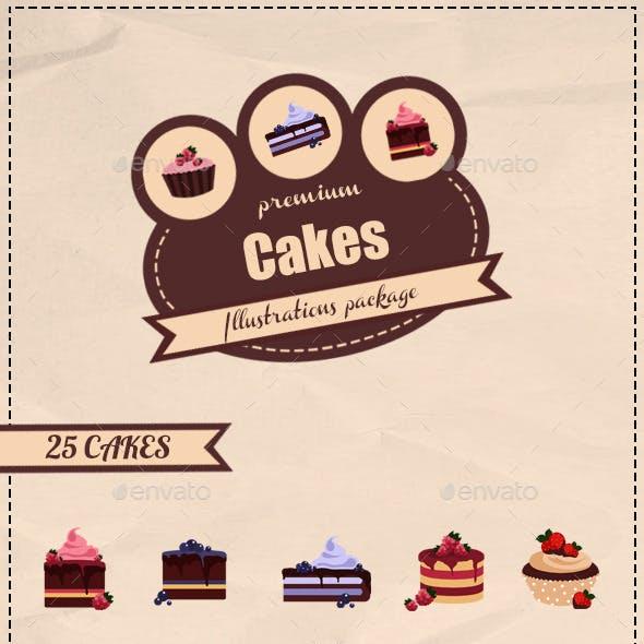 25 Cakes Illustrations
