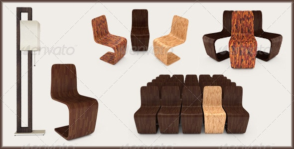 Set of Furniture 3D Illustration - Objects 3D Renders