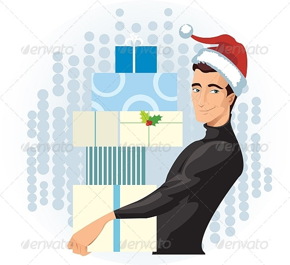 Man in a Santa hat with presents - People Characters