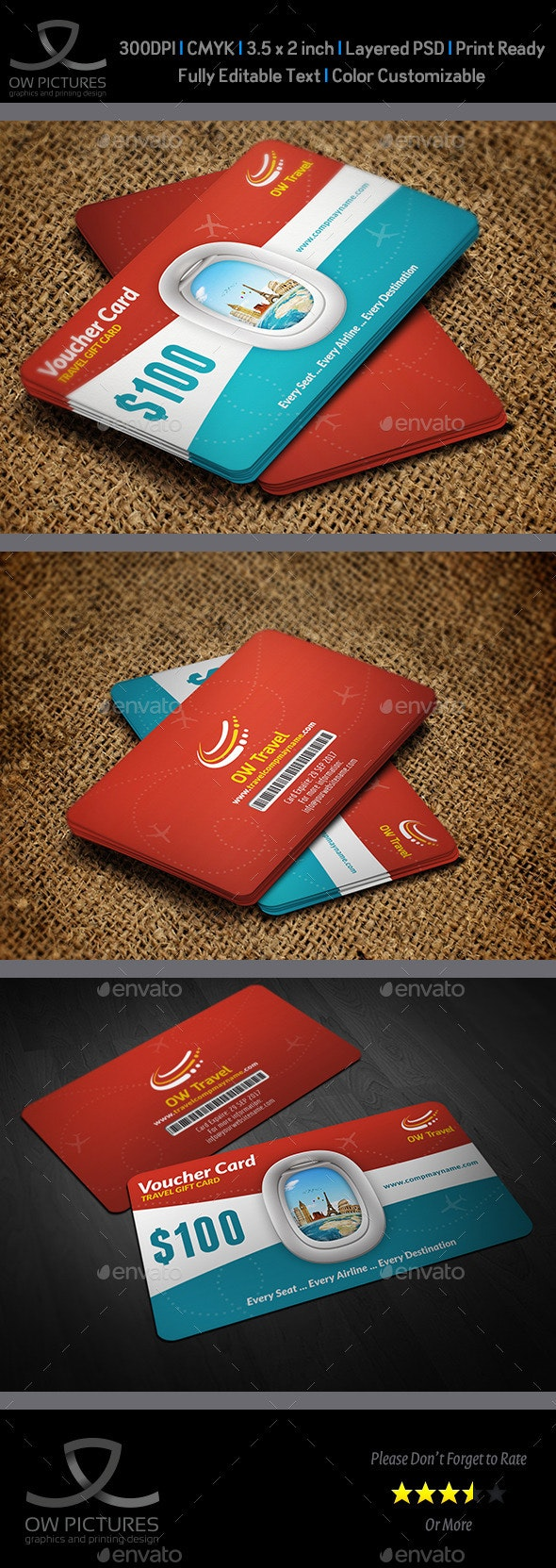 Travel Gift Voucher Card Template Vol.17 - Cards & Invites Print Templates