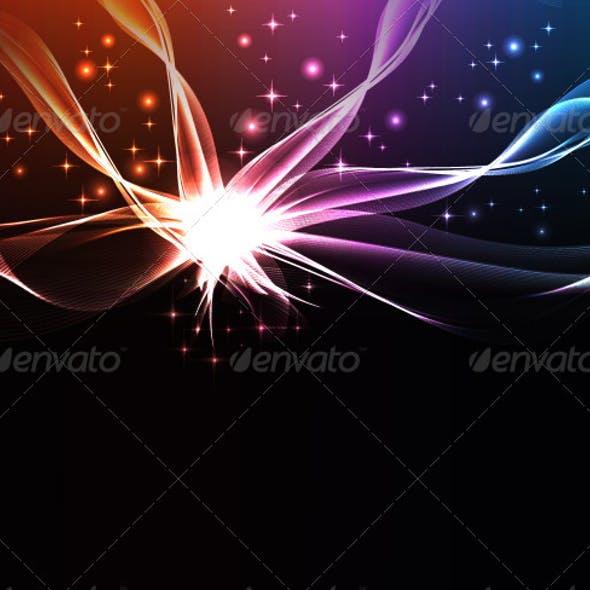 Abstract wave background with glowing elements