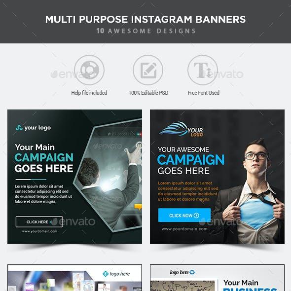 MultiPurpose Instagram Banners - 10 Designs