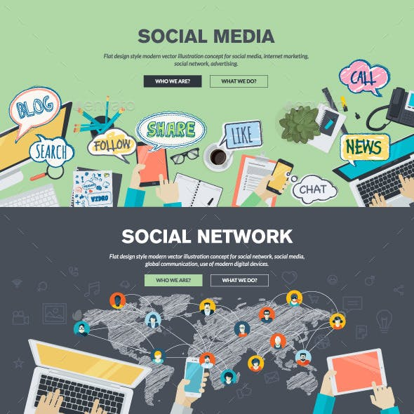 Flat Design Concepts for Social Media and Network