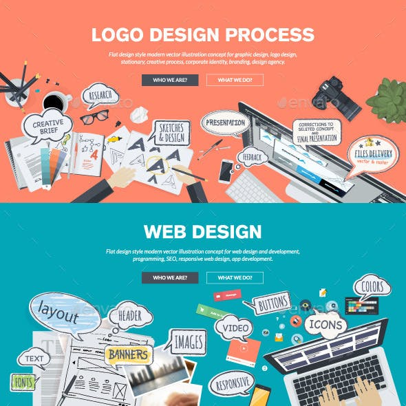 Flat Design Concepts for Logo and Web Design