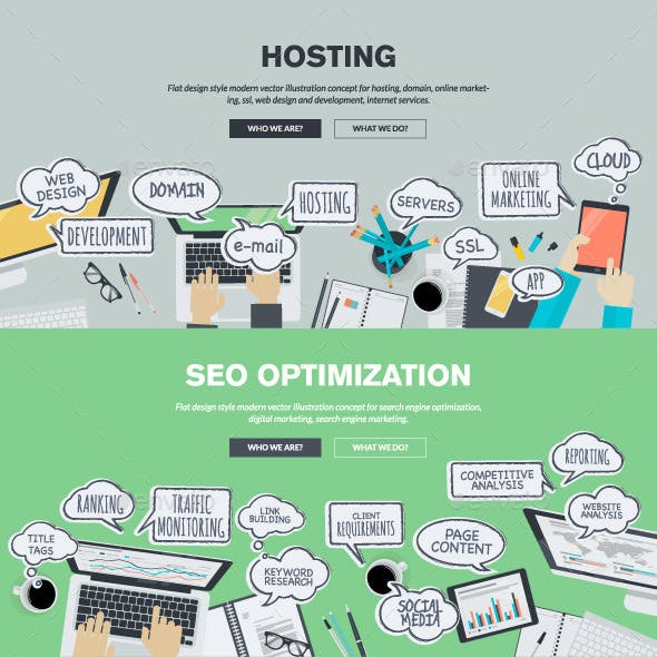 Flat Design Concepts for Hosting and SEO