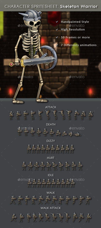 Character Spritesheet: Skeleton Warrior