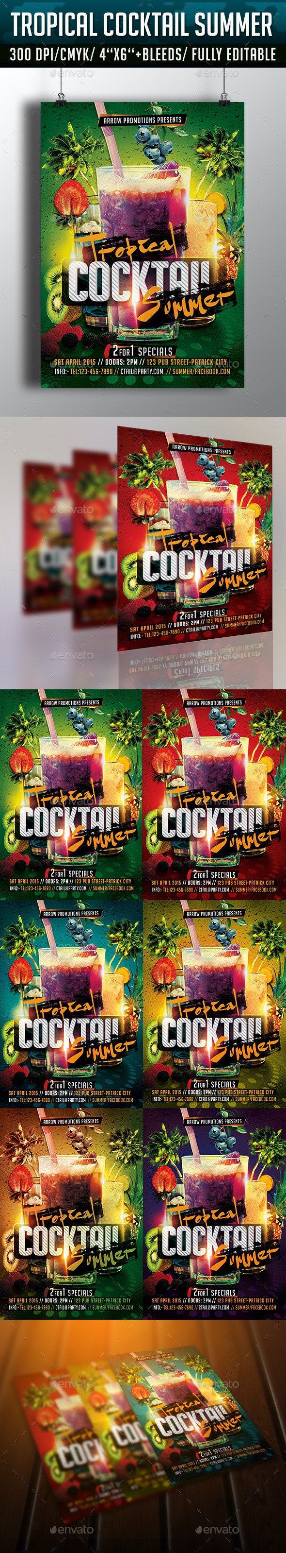 Tropical Cocktail Summer Flyer Template - Clubs & Parties Events
