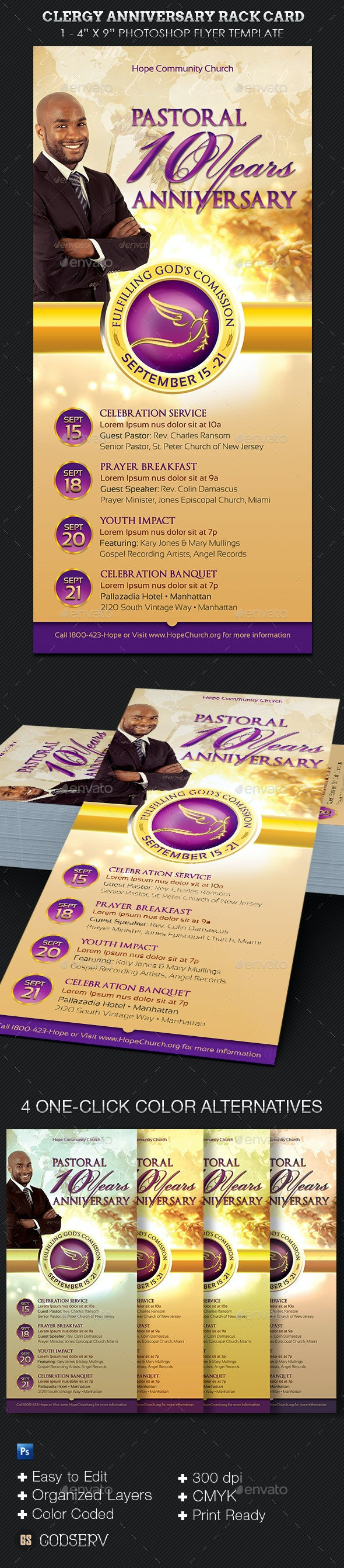 Clergy Anniversary Rack Card Template - Church Flyers
