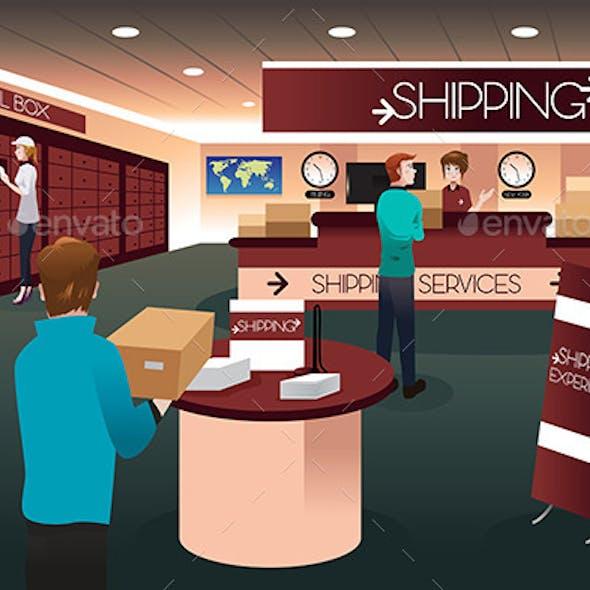 Scene Inside a Shipping Store