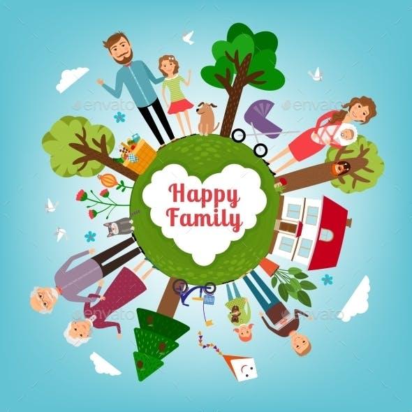 Happy Family Around Earth