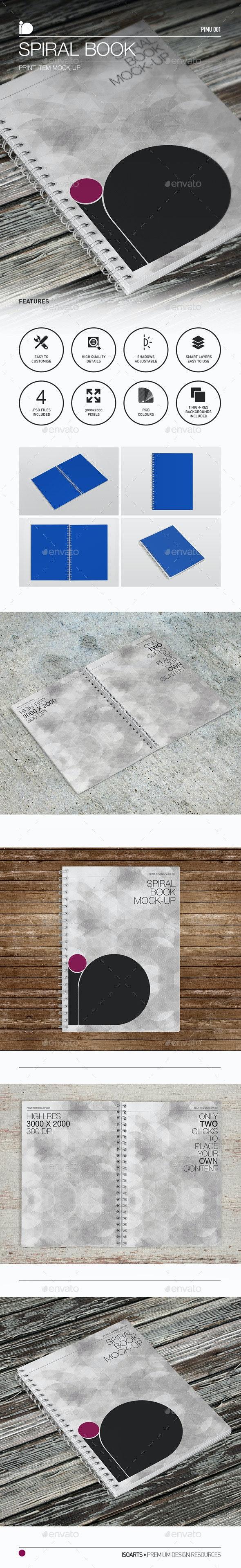 Mock-Up • Spiral Book - Print Product Mock-Ups