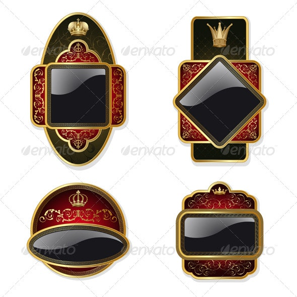 Set from gold labels - Decorative Symbols Decorative