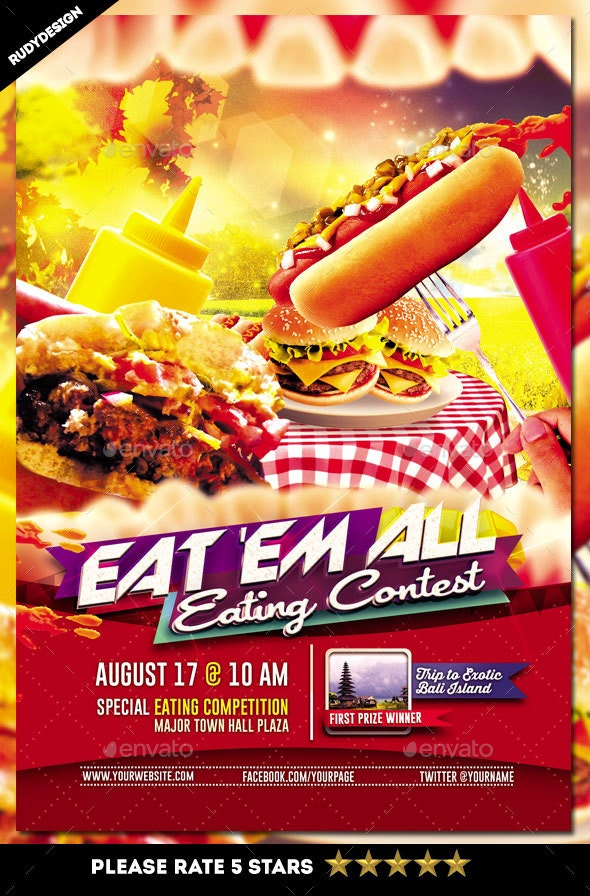 Eating Contest Flyer Template - Miscellaneous Events