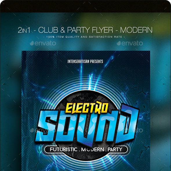 2 in 1 Electro Sound - Club & Party Flyer
