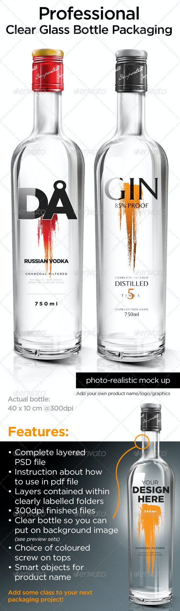 Clear Glass Bottle Packaging - Food and Drink Packaging