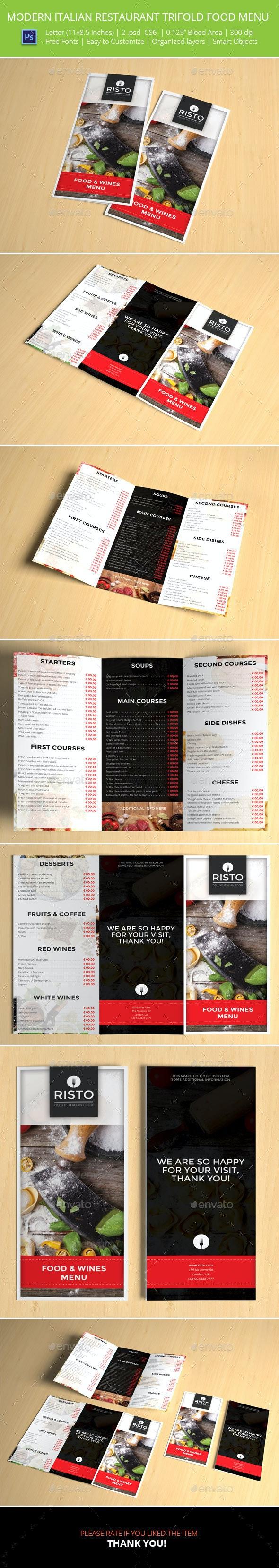 Modern Italian Restaurant Trifold Food Menu - Food Menus Print Templates