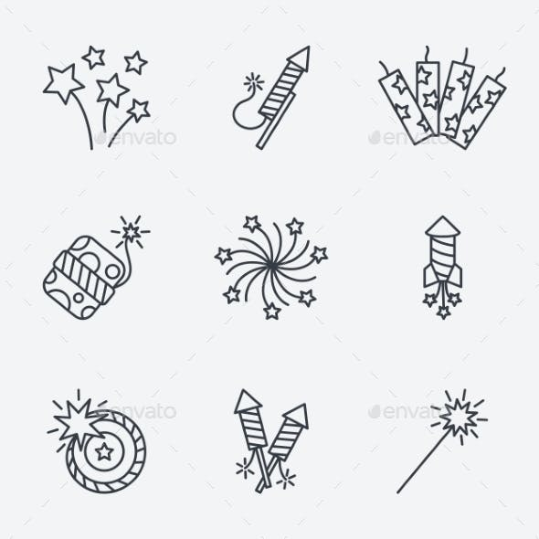Pyrotechnic Icons Set, Thin Line Style