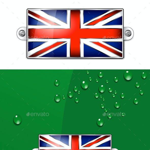 British Union Jack Flag Enamel + Background