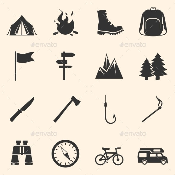Set of Hiking and Camping Icons - Travel Conceptual