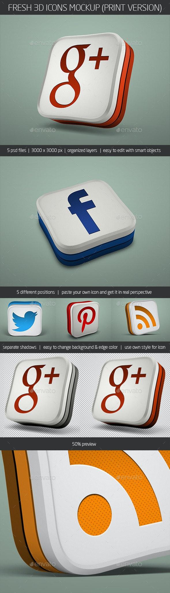 Fresh 3D Icons Mockup (Print Version) - Miscellaneous Displays