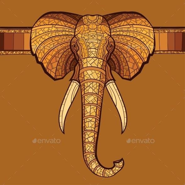 Elephant Head with Ethnic Ornament