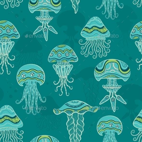 Decorative Jellyfish in the Sea - Patterns Decorative
