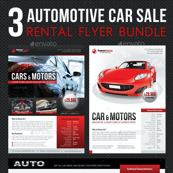 3 in 1 Automotive Car Sale Rental Flyer Bundle