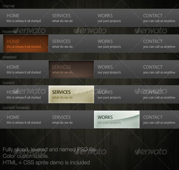 Dark Grey Navigation - Web Elements