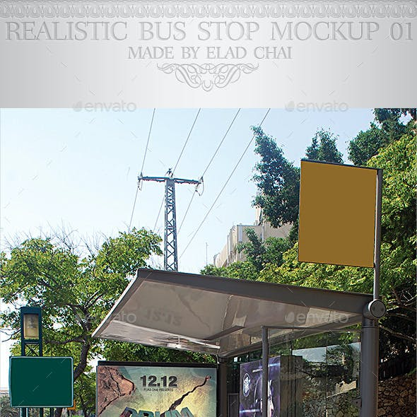 Realistic Bus Stop Flyer Poster Mockup 02