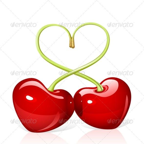 Sweet cherry love on white.