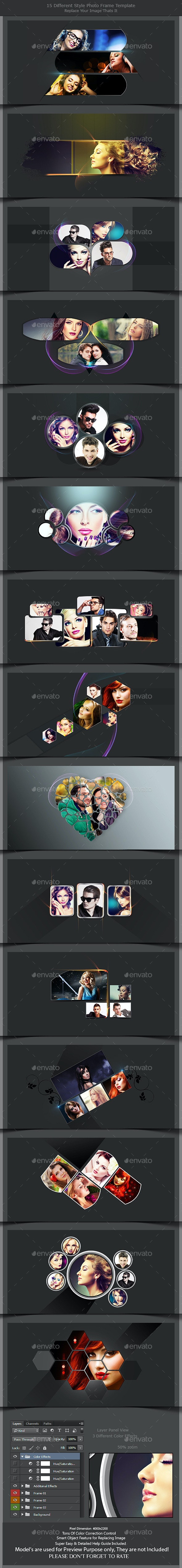 15 Different Styles Photo Frame Template - Photo Templates Graphics