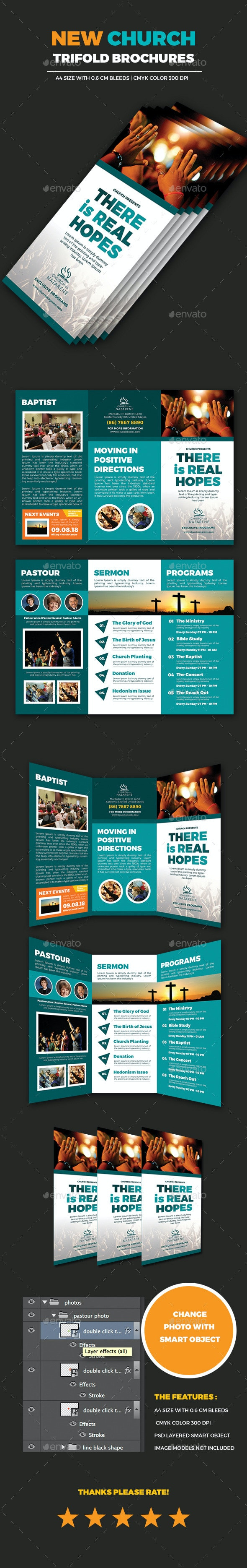 Real Hopes Church Trifold Brochures - Brochures Print Templates