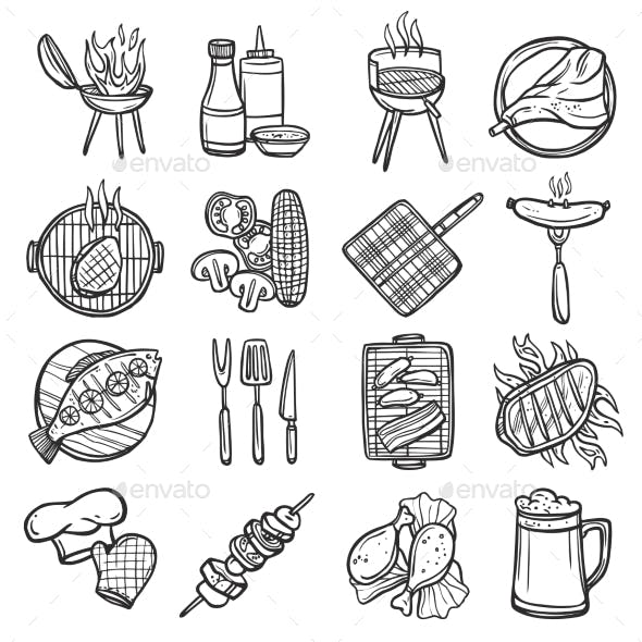 Bbq Grill Icons Set