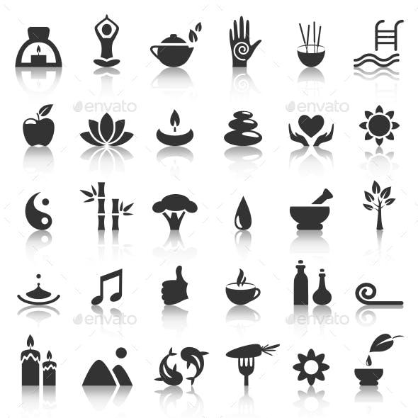 Spa Yoga Zen Flat Icons with Reflection on White