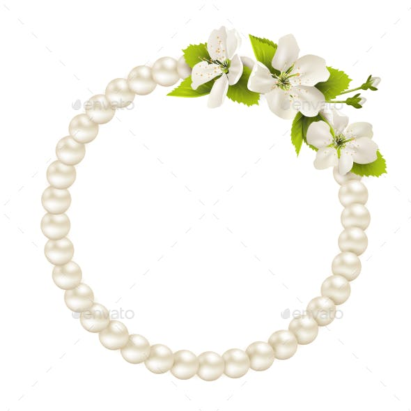 Pearl Circle like Frame with Cherry Flowers