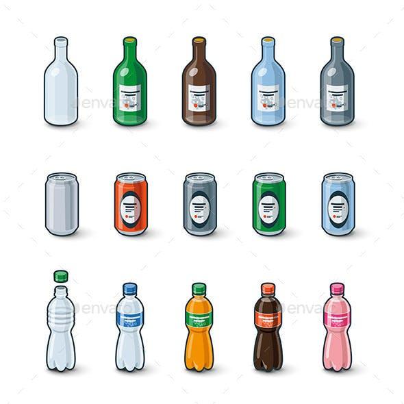 Plastic Glass Bottles Aluminium Cans Illustration
