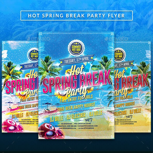 Hot Spring Break party Flyer