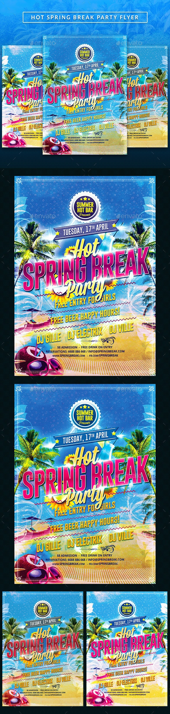 Hot Spring Break party Flyer - Clubs & Parties Events