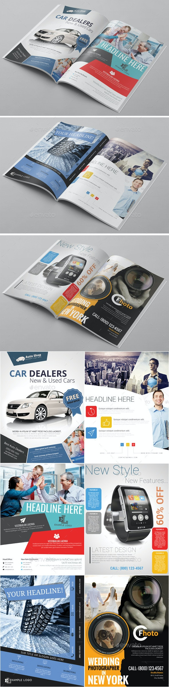 6x Magazine Ad Template Pack - Magazines Print Templates
