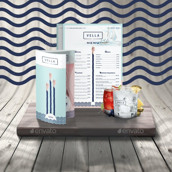 Beach Bar and Dinner or Restaurant Menu Template