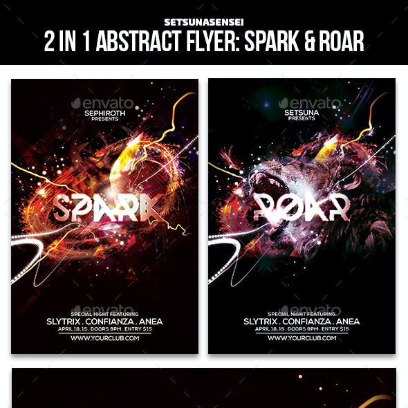 2 in 1 Abstract Flyer: Spark and Roar