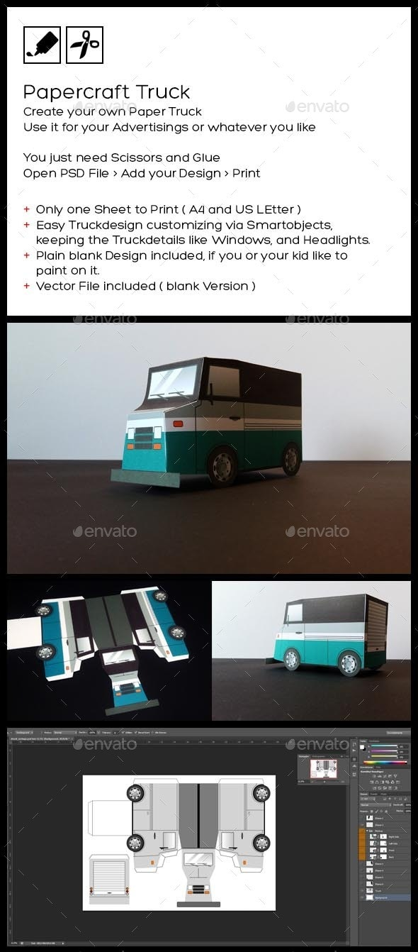 Paper Truck - Papercraft your Own Truck - Signage Print Templates