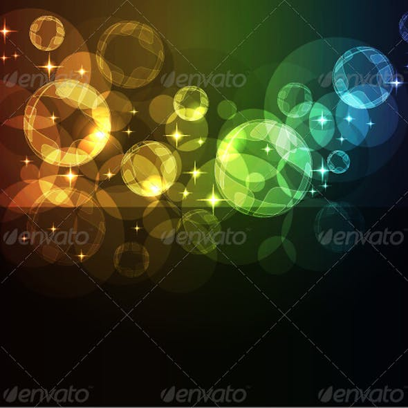 Abstract background with moving glowing spheres