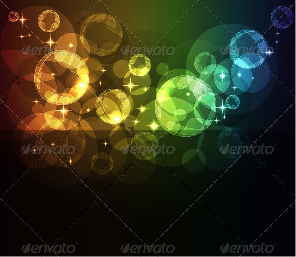 Abstract background with moving glowing spheres - Web Technology